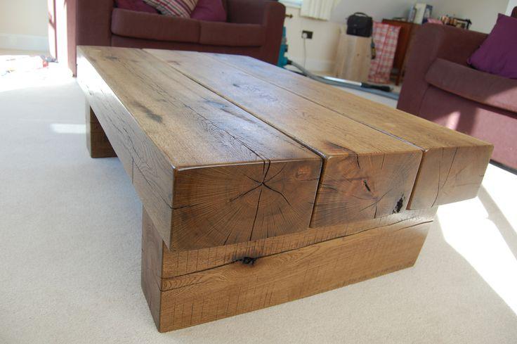 An oak sleeper coffee table