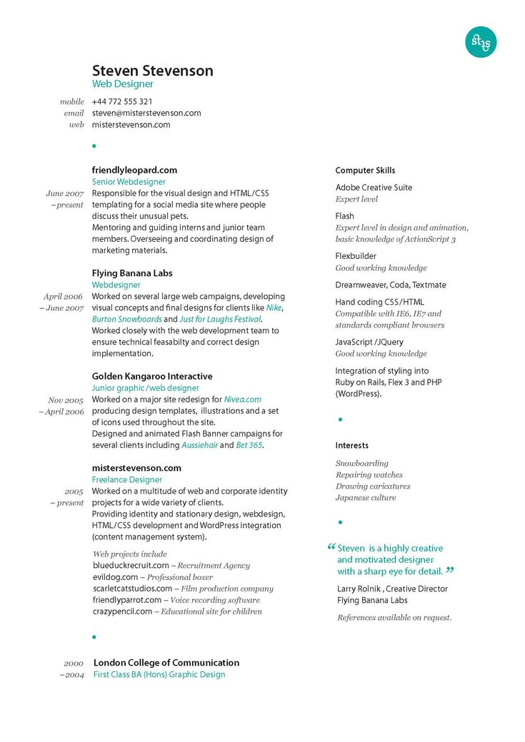 Correct Font For Resume
