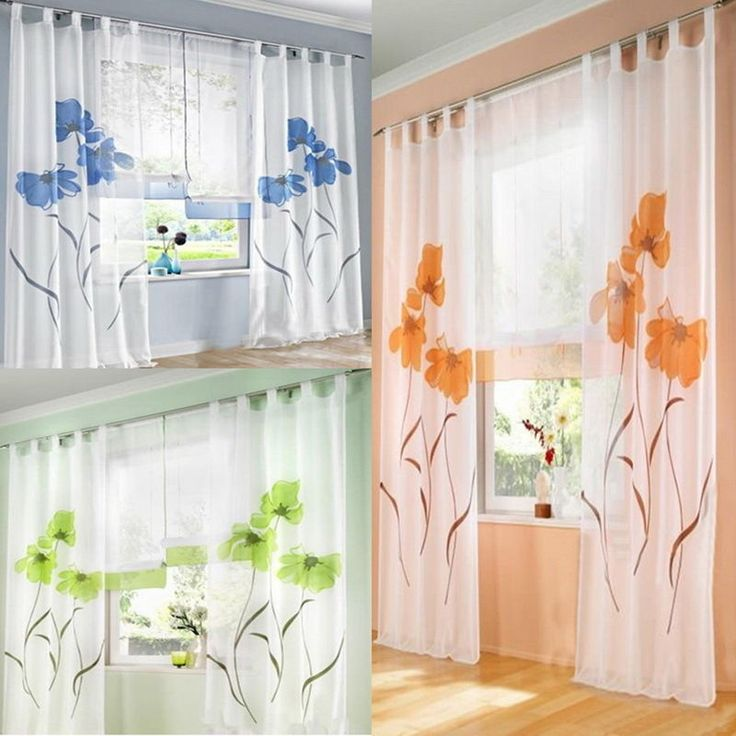 BD 1Set Window Curtain Screens Plant Flower...