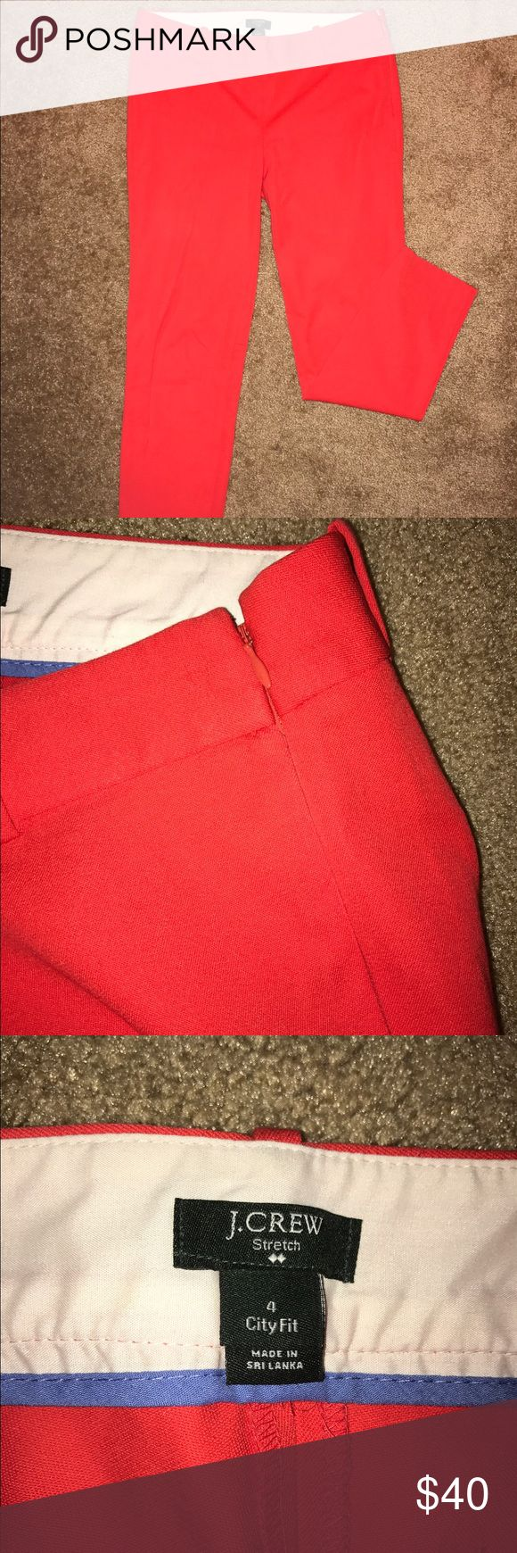 J. CREW City Fit orange/red skinny pants Stretchy orange fabric, side zipper, super comfortable and gently used. Great condition size 4. Office chic 💚💚💚❤❤❤ J. Crew Pants Ankle & Cropped