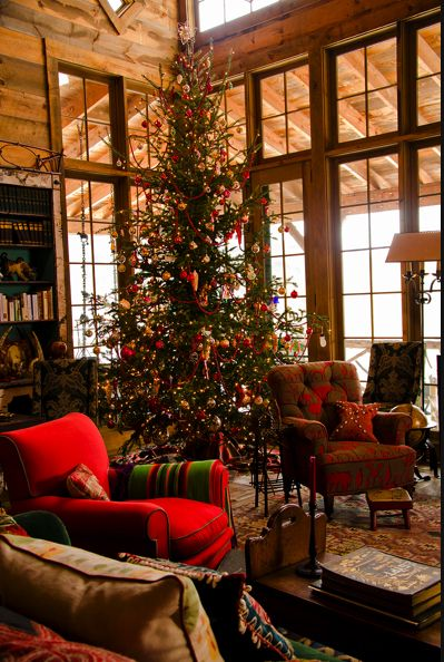 WINDOWS!!! Holiday Decor -- Rustic Christmas Living Room