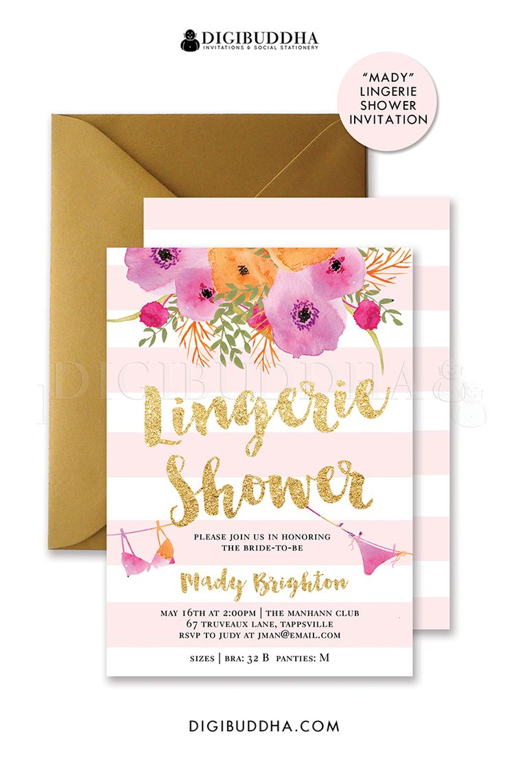 Blush Pink stripe Lingerie Shower invitation, Kate Spade inspired with beautiful…