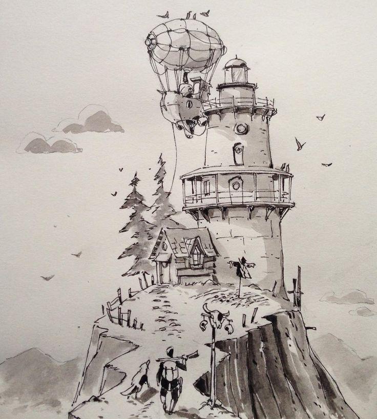 летающий дом рисунок карандашом еще древних