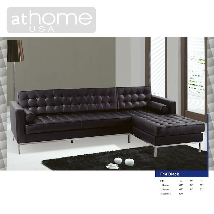 Sofa Paradise Shop By Brands At Home Usa F14 Full Leather Sectional Black