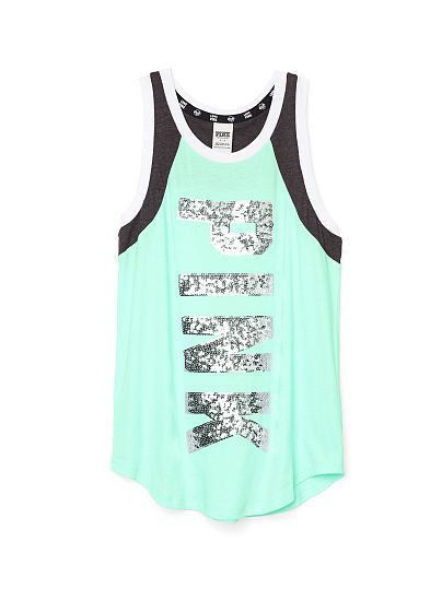 """Victoria's Secret PINK Bling Muscle Tank Top Shirt Size: Extra Small Color: Mint Green 60% Cotton 40% Polyester Curved Hem """"PINK"""" Wording Dazzled In Silver Bling!!"""
