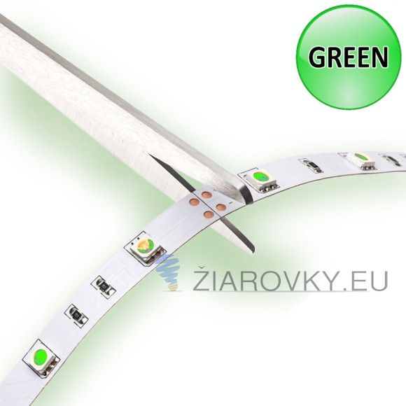 LED PÁS, SMD 3528, IP20, 60 LED/METER, ZELENÁ