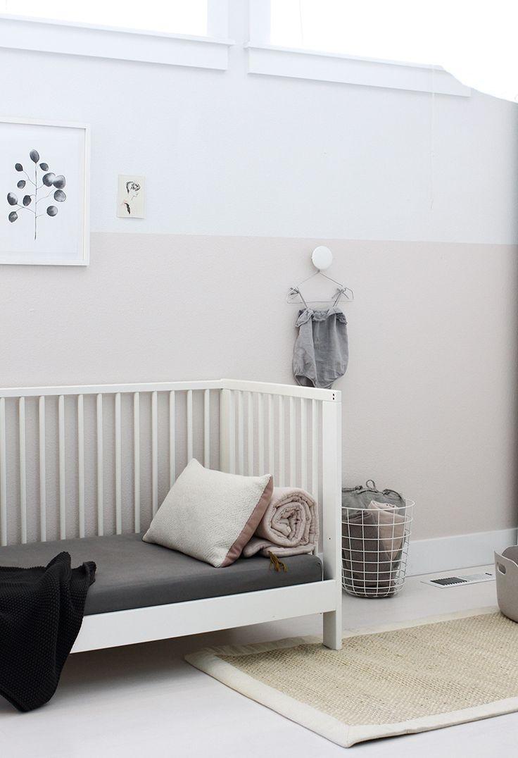 Eli's half pink wall in Translucent Silk from Behr's MARQUEE Interior Paint & Primer | AMM blog