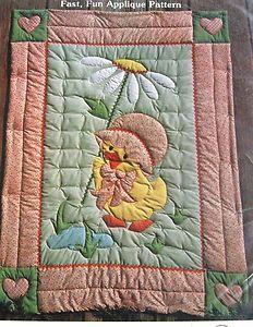 Applique Quilt Patterns   Vtg 80s Gingham GOOSE Baby Quilt Pattern Applique Blanket Ducky Doodle ...