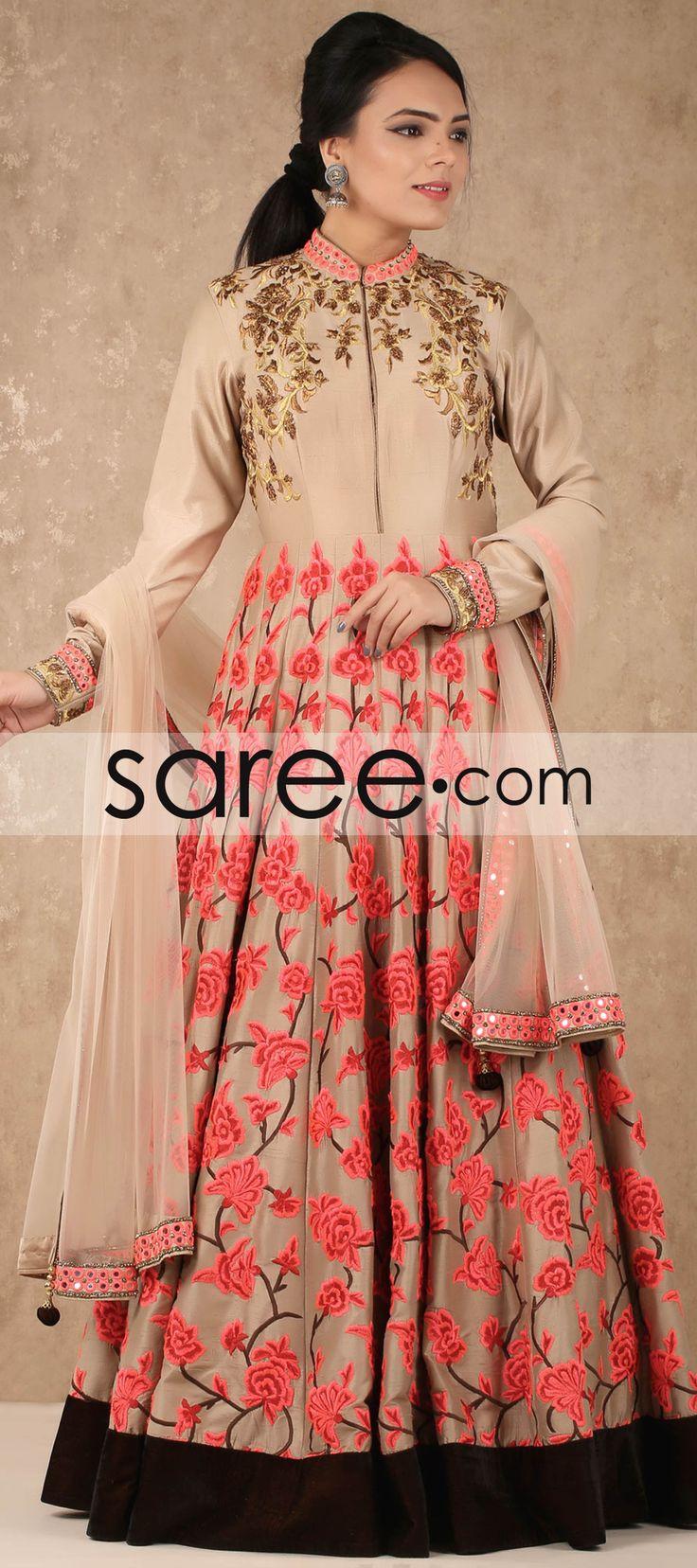 Cream Raw Silk Designer Anarkali Suit with Resham Embroidery Work