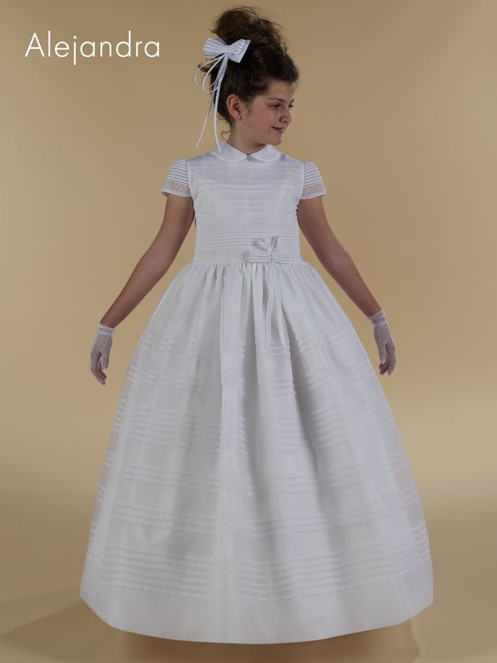 Vestido clásico de primera comunión con cuello bebé y manga corta - Vestidos y Complementos de Comunión - Mundo Kiriko