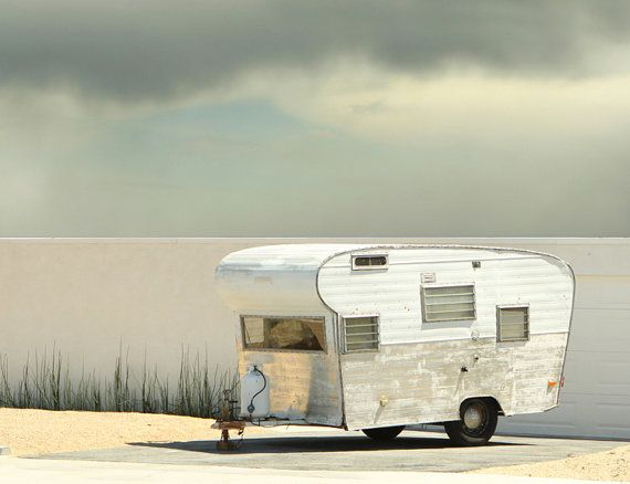 Large Canvas Vintage Trailer Mid Century by lucysnowephotography