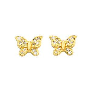 14K Yellow Gold Butterfly CZ Stud with Screw-back for Baby & Children The World Jewelry Center. $61.00. Promptly Packaged with Free Gift Box and Gift Bag