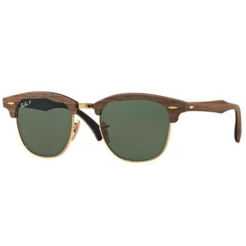 Óculos De Sol Ray Ban Clubmaster Wood Polarizado Rb3016 118158 Tam.51
