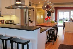 Traditional Kitchen with Steel Worx Contemporary Pot Rack with Downlights, Kitchen island, Shaker Cabinetry, Barker Cabinets