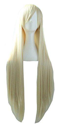 Quibine 80cm Longue Ligne Droite Perruque Cosplay Multicolore Perruques Blonde: Materiel: fibre synthetique, Longueur: 80cm Cheveux…