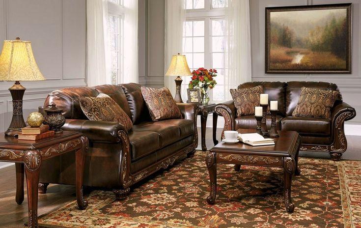 Vanceton Mocha Brown Leather Traditional Wood Sofa & Loveseat Living Room Set