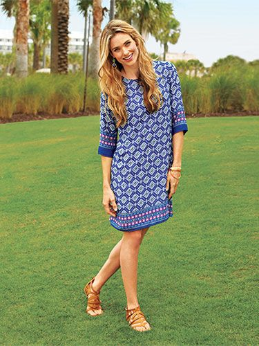 Arms Bust TummyThe graphic print on this loose-fitting dress conceals your stomach and a knee-length hem shows off legs. Prints Charming Blue Print Shift Dress, $46 (Sizes S to XL).