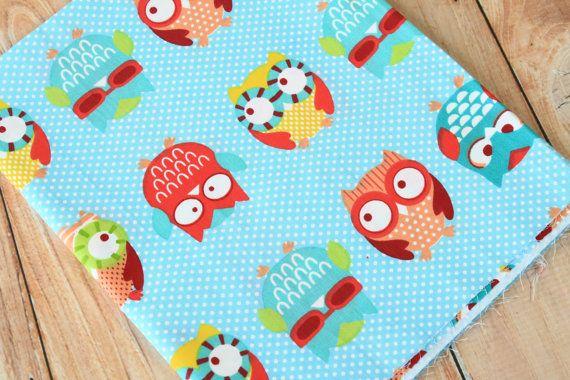 Polka Dot Owls cartoon owl birds cotton fabric