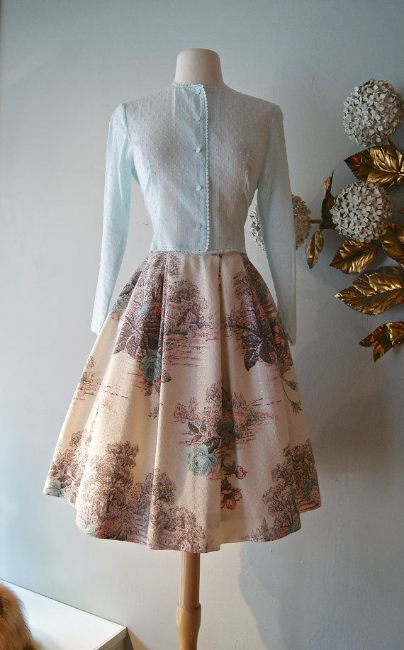 Vintage 1950s Novelty Print Skirt  50s Skirt With by xtabayvintage, $89.00