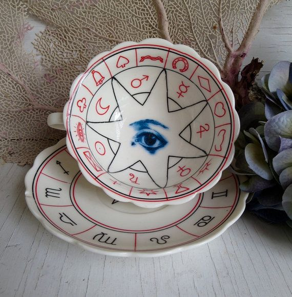 Vintage Palmistry Tea Cup Altered Anatomical All by AustinModern, $38.00