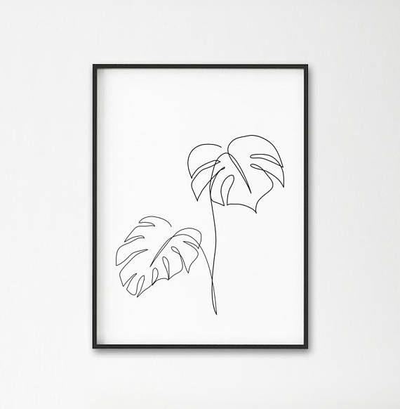 Monstera line art, Tropic leaves print, Abstract botanic plants wall decor, Minimalist art, Modern r – gela li