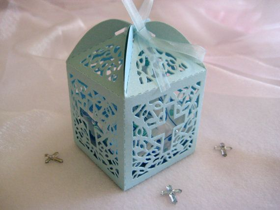 Holy Cross Pearled Blue Favor Boxes for Christening Favors, Baptism Party, First Communions Celebration - Set of 12 on Etsy, $9.00