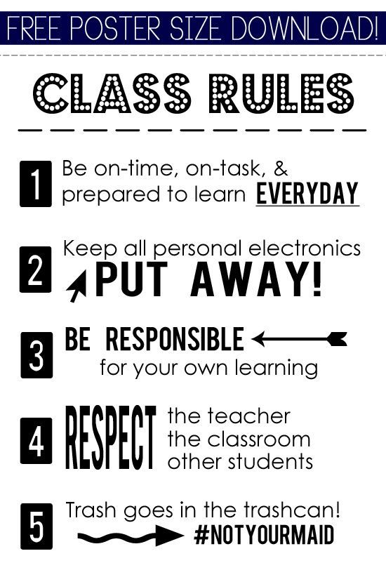 Best rules ever! Not much of a stretch for homeschooling High Schoolers either: