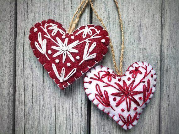Scandinavian Heart Christmas Tree Ornaments Felt Ornaments Etsy Felt Christmas Ornaments Christmas Tree Ornaments Felt Felt Ornaments