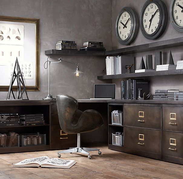 like the style.  concerned may be too dark. would not want so many items sitting on desk/on top of cabinets.  need more space under desk to move around.  think may be good to have little open cabinet next to closed filers under desk.   1940s Industrial Modular Office Corner Desk System