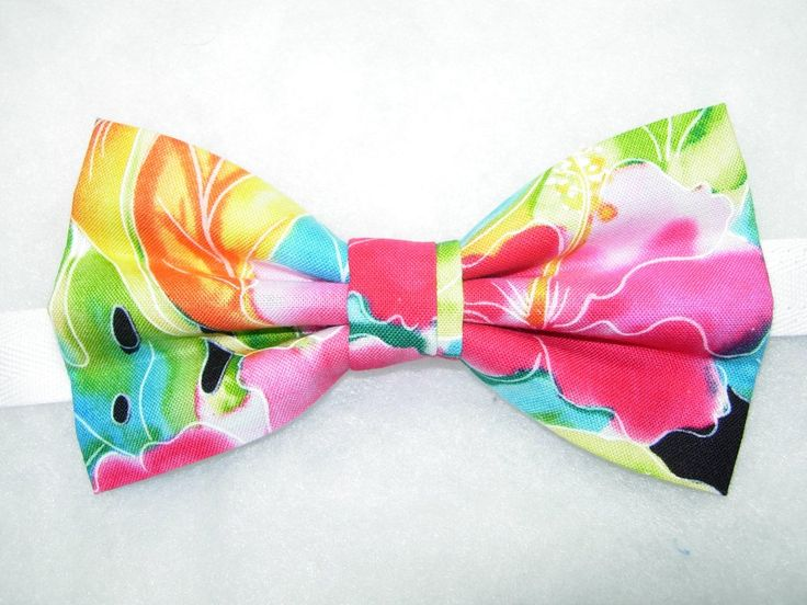 SPLASH OF TROPICAL COLOR PRE-TIED BOW TIE - PINK HIBISCUS WITH GREEN & BLUE LEAVES ON BLACK
