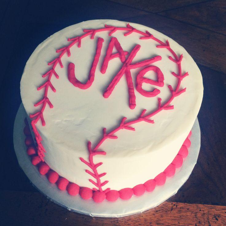Baseball cake with name logo Www.facebook.com/tinykitchencakery