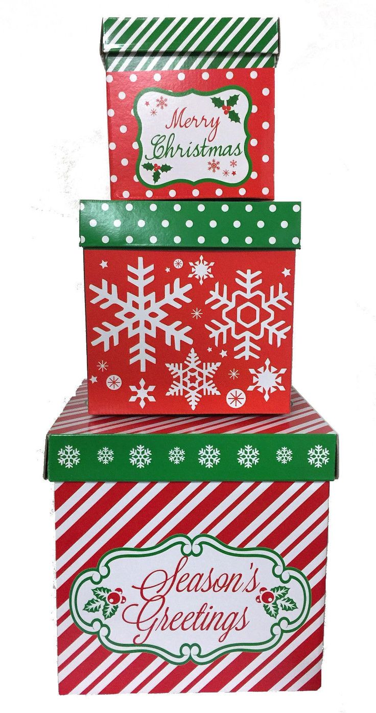 Details about 3 christmas gift boxes w lids nesting