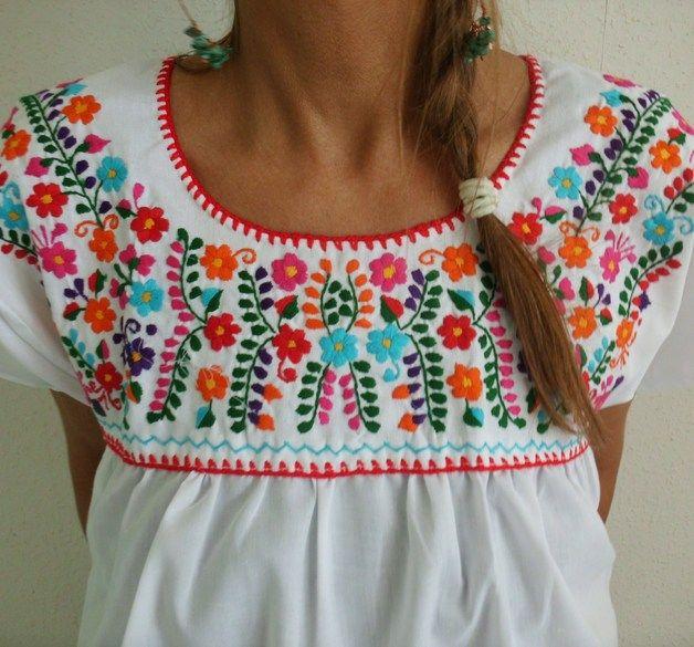Blusas manga corta - S blusa bordado mexicano folclore blanco boho ...