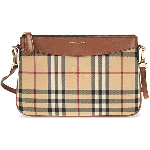 Burberry Horseferry Check Leather Clutch - Tan ($425) ❤ liked on Polyvore featuring bags, handbags, clutches, tan leather purse, real leather purses, genuine leather handbags, beige leather handbags and tan leather handbags