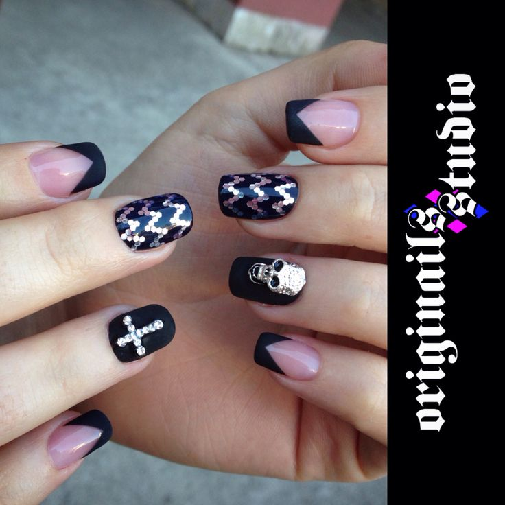 Acrylic gothic nail art with studs