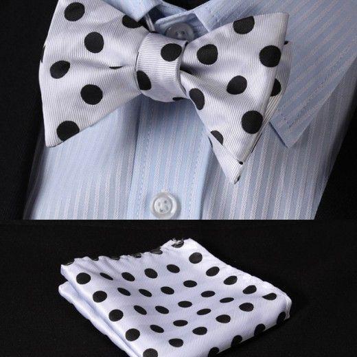 Luxusný hodvábny set - motýlik a vreckovka v bielej farbe s čiernymi bodkami