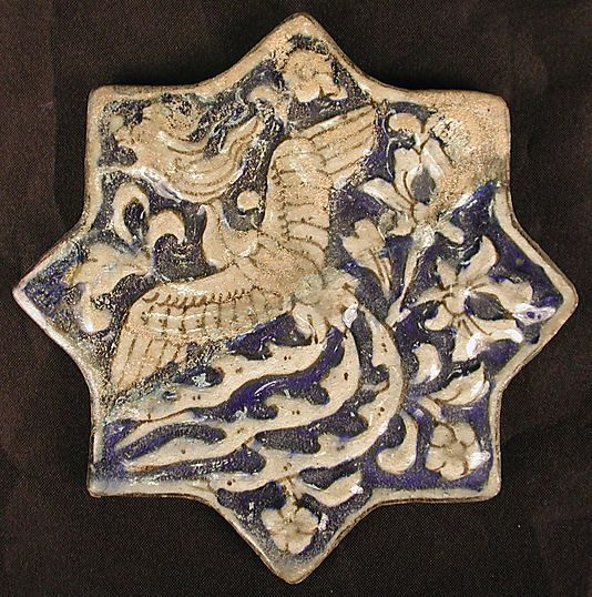 Star-Shaped Tile Object Name: Star-shaped tile Date: 14th century Geography: Iran, probably Sultanabad Medium: Stonepaste; underglaze painted Dimensions: 5 5/8 x 5 3/4 in. (14.3 x 14.6 cm) Classification: Ceramics Credit Line: Gift of Rafael Guastavino, 1928 Accession Number: 28.89.11
