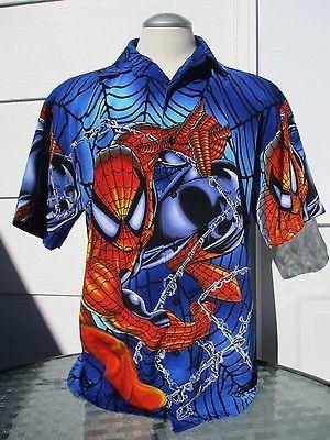 Spiderman-Mens-Button-Up-Print-Shirt-Sz-Large-Marvel-2001-Collar-Short-Sleeve
