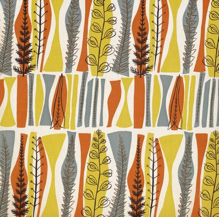 Coppice fabric, designed by Mary White for Heal & Sons Ltd. Printed cotton. UK, 1954. Source: Victoria & Albert Museum