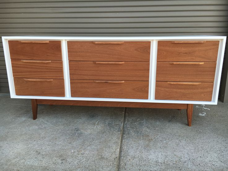 White and Mahogany 9 Drawer Dresser - Local purchase only
