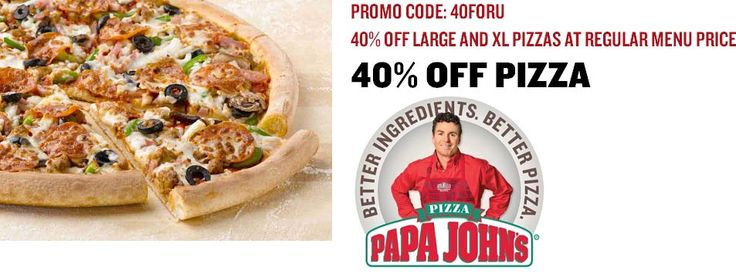 Pinned February 18th: 40% off a L or #XL pizza at Papa Johns via promo code 40FORU #coupon via The #Coupons App