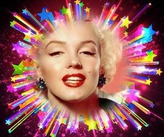 Ejemplo: Marco para fotos con estrellas brillantes resplandecientes de colores donde colocar una foto con un texto.