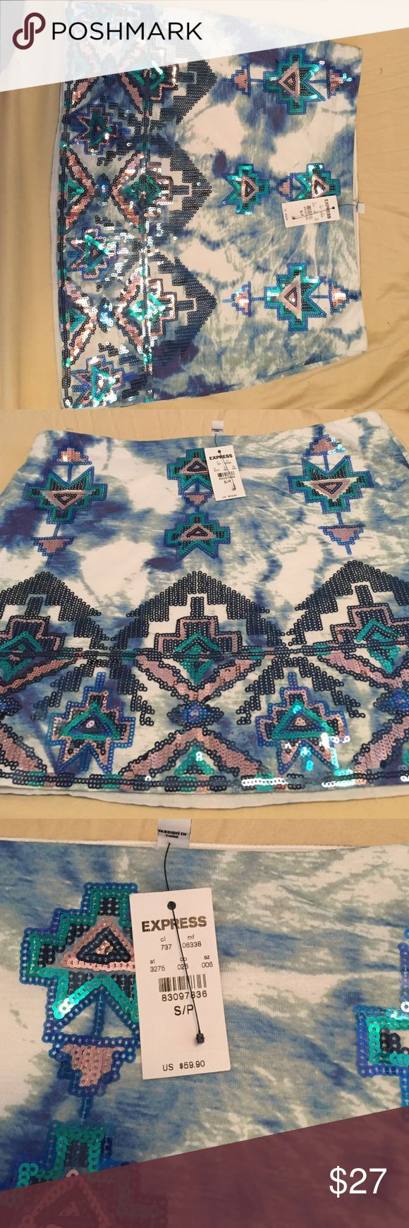 Brand new with tags express sequin mini skirt Express BLUE hues  mini skirt with Aztec sequin design Express Skirts Mini