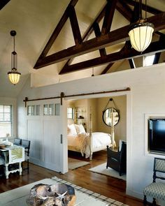 Imagaine this as the top floor of a carriage house apartment! With barn door to close off bedroom.