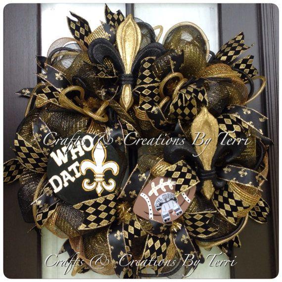 New Orleans SAINTS Wreath - Saints Football Wreath - Fleur de Lis Wreath - Deco Mesh Wreath - Door Decor - Made To Order