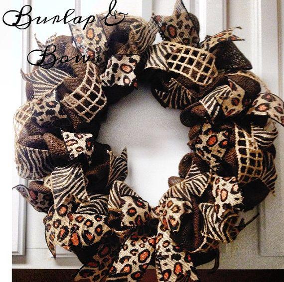 Leopard & Zebra Burlap Wreath