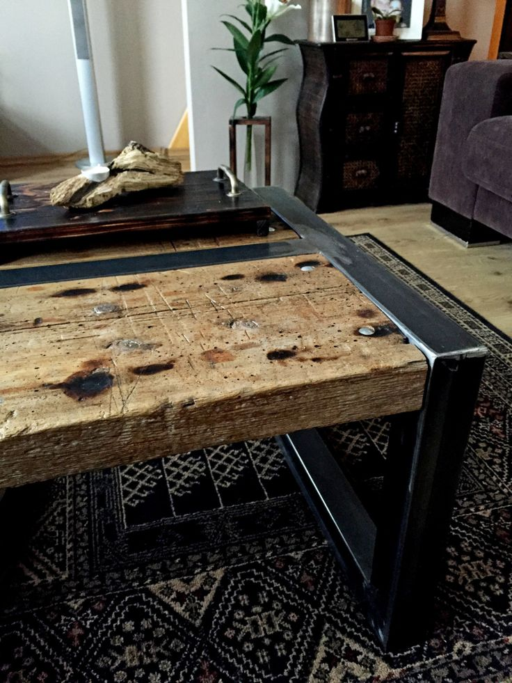 Recycled wood, raw steel frame by HolzDinge on Etsy