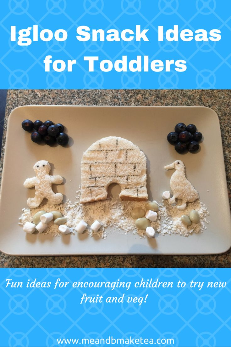 If you have a picky or fussy eater then take a look at our fun ideas for encouraging kids to eat!  For this Igloo snack, I used white bread for the igloo and shapes. I have loads of cookie cutters that I used for the littleman and theduckerm penguinFor the snow I use dry coconut, white marshmallows and some yogurt covered raisins. We added some blueberry clouds. B actually helped me make this one and he spent most of the time eating the blueberries!