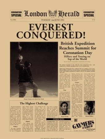 Edmund Hilary and Tenzing Norgay make history by being the first to summit Mount Everest.