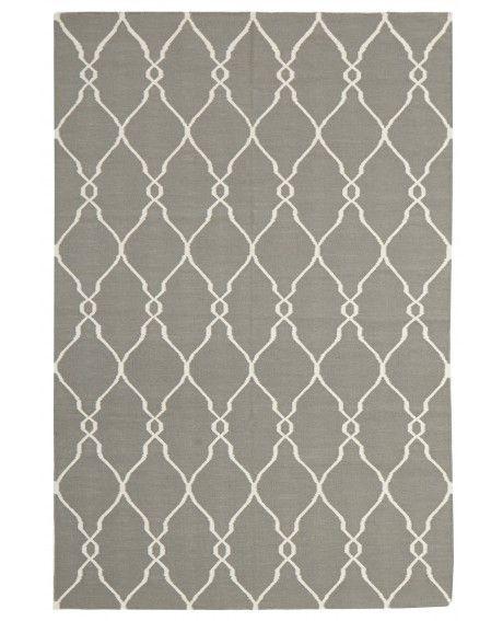 Chemillé Grey Lattice Flatweave Wool Rug
